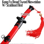 Qing Dynasty Ox Tail Kung Fu Broad Sword Scabbard Red
