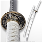 Classic Japanese Style Samurai Katana Sword with Dragon Painted White Scabbard