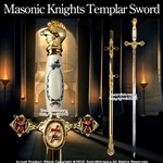 "Masonic Knights Templar Ceremonial Sword Gold Fittings Red Cross Guard 29"" Blade"
