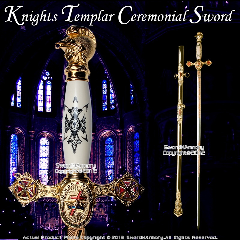 Knights Templar Freemason Masonic Ceremonial Sword Gold Regalia 31