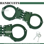 Green Steel Triple Hinged Double Lock Handcuffs W/ Key