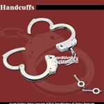 Black Steel Chain Double Lock Handcuffs With Spare Key