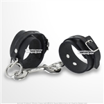 Black Genuine Leather Chain Handcuff with Steel Buckles Wrist Ankle Restraint