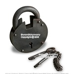 Medieval Dungeon Black Iron Round Prison Padlock with Two Keys Reenactment LARP