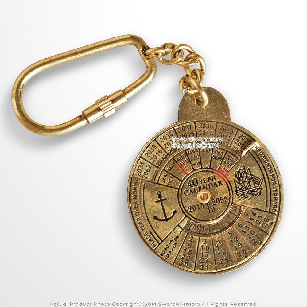 Key Ring Brass Forty Year Calendar Keyring BNIB