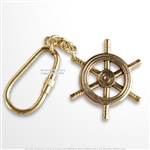 Handmade Brass Maritime Ship Navigation Wheel Keychain Keyring Nautical Gift