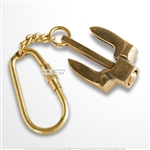 Handmade Brass Miniature Navy Stockless Anchor Keychain Keyring Nautical Gift