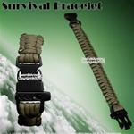 "8"" Army Green Parachute Cord Survival Bracelet Strip emergency whistleWhistle"