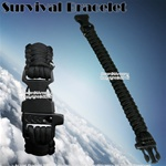 "8.5"" Black Parachute Cord Survival Bracelet Strip with Whistle 300 Lbs Capacity"