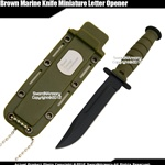 Small Green Classic Marine Combat Knife Replica Letter Opener w/ Sheath & Chain