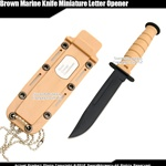 Small Classic Marine Desert Combat Knife Replica Letter Opener w/ Sheath Chain
