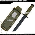 Green Small Marine Combat Knife Replica Letter Opener Dagger Serrated w/ Sheath