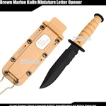 Fixed Blade Marine Combat Knife Dagger Letter Opener w/ Chain Sheath Drop Point