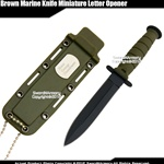 Fixed Blade Marine Combat Knife Miniature Letter Opener with Chain & Sheath GN