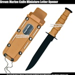 Brown Marine Knife Miniature Letter Opener Replica With Name Plate & Chain