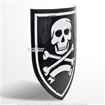 "28"" Caribbean Pirate Skull and Bone Heater Shield 18G Steel w/ Grip LARP Cosplay"