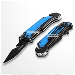 Blue 5-in1 Multi Function Spring Assisted Opening Knife Flash Light Fire Starter