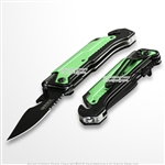 Green 5in1 Multi Function Spring Assisted Opening Knife Flash Light Fire Starter