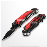 Red 5-in-1 Multi Function Spring Assisted Opening Knife Flash Light Fire Starter