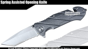 Assisted Opening Rescue Silver Folder Knife Tanto Point