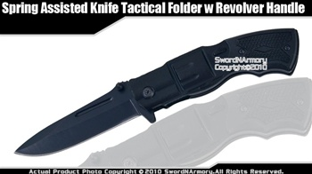Spring Assisted Knife Tactical Folder w Revolver Handle