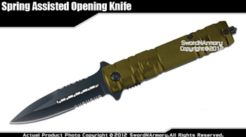 Green Stiletto Tactical Assisted Opening Folding Pocket Knife with Glass Breaker