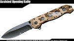 Desert Brown Camo Drop Point Assisted Open Folding Pocket Knife Serrated Blade