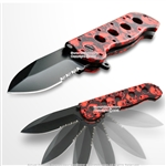 Spring Assist Open Folding Pocket Knife Fantasy Skull FRP Handle Serrated Blade