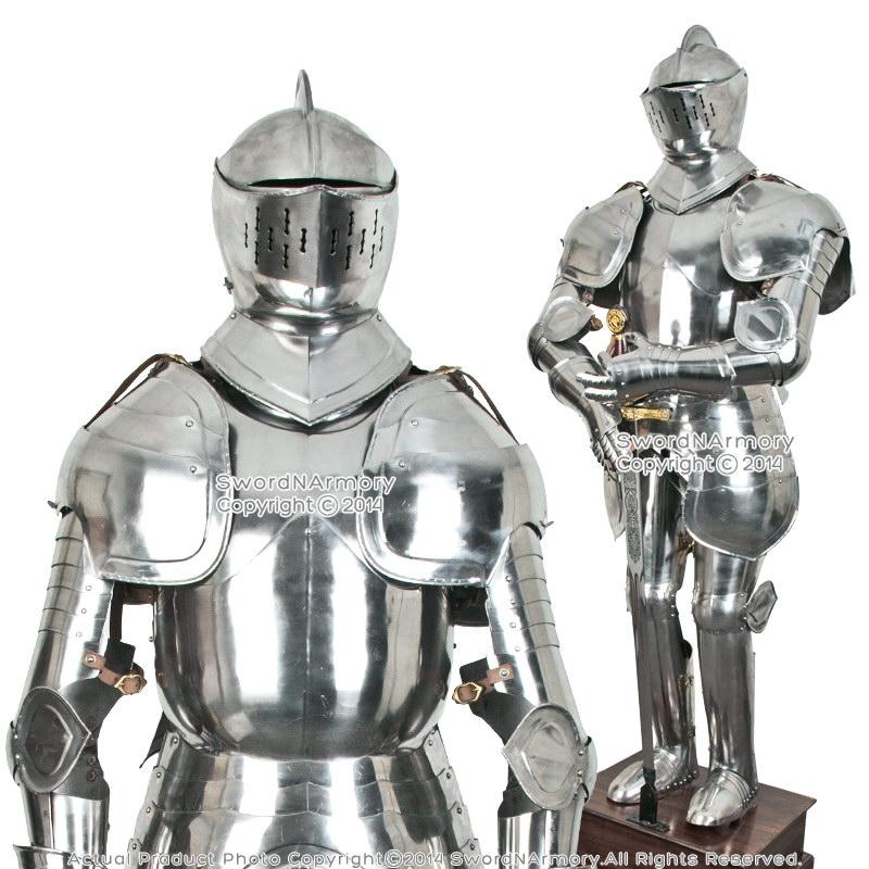 stainless steel duke of burgundy full suit of armor medieval knight