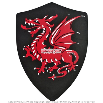 Medieval Crusader Knight Foam Shield With Torching Red