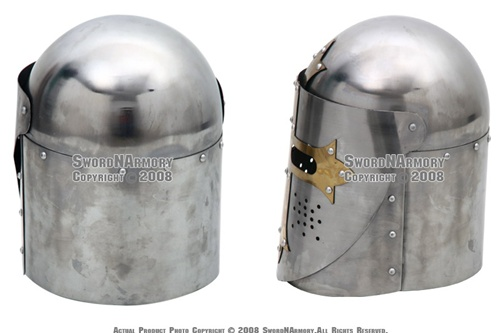 Medieval Knight Great Helm Helmet With Arming Cap & Stand