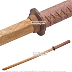 "39.5"" Natural Finish Wooden Samurai Training Sword Practice Katana Bokken Brown"