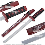 "29"" Red Wooden Samurai Katana Sword with Dragon Scabbard Cosplay Video Game"