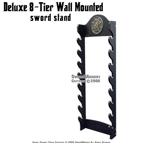 Deluxe 8-Tier Wall Mounted Sword Display Stand With Kanji